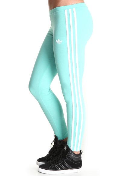 Adidas Women Green,Teal 3 Stripe Leggings