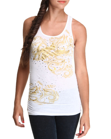 Apple Bottoms Women White Side Ruched Racer Back Tank