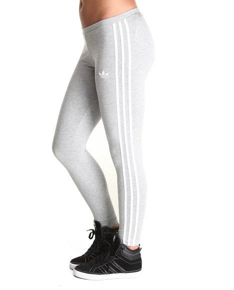 Adidas Women Grey 3 Stripes Leggings
