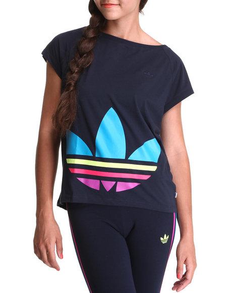 Adidas Women Navy Big Trefoil Tee