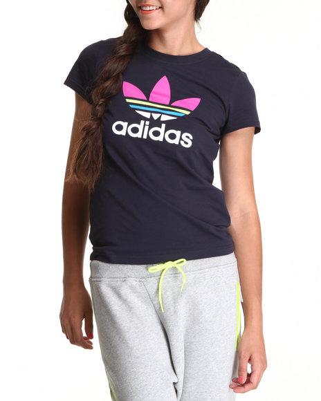Adidas Women Navy Trefoil Tee