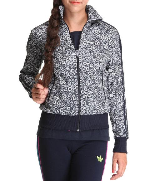 Adidas Women Black,Ivory Flower Track Jacket