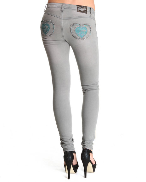Apple Bottoms - Women Grey Contrast Color Pocket Skinny Jean