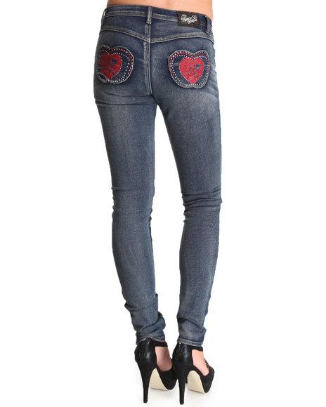 Apple Bottoms Women Medium Wash Contrast Color Pocket Skinny Jean