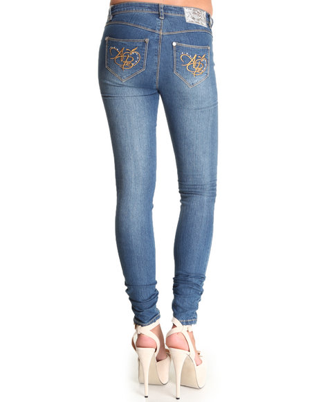 Apple Bottoms Women Medium Wash Logo Initials Pocket Distressed Skinny Jean