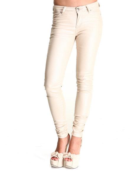 Apple Bottoms Women Beige,Cream Shimmer Twill Pant