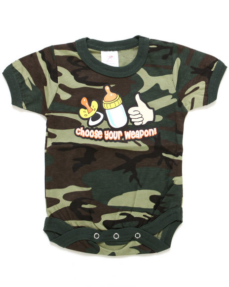 Drj Army/Navy Shop - Boys Camo,Camo Choose Your Weapon Bodysuit (Infant)