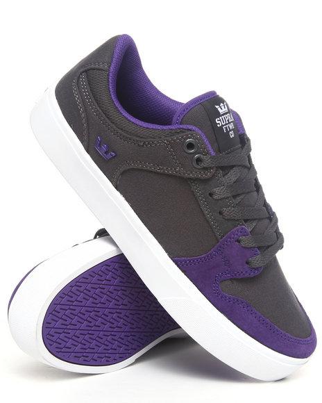 Supra - Men Grey,Purple Vaider Lc Dark Grey Canvas/Purple Suede Sneakers