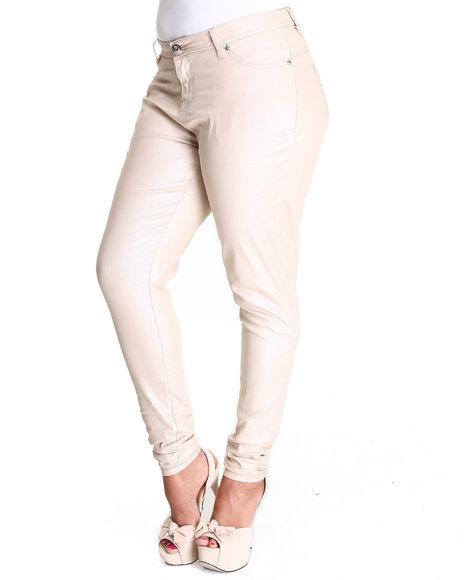 Apple Bottoms Women Tan Shimmer Twill Pant (Plus Size)