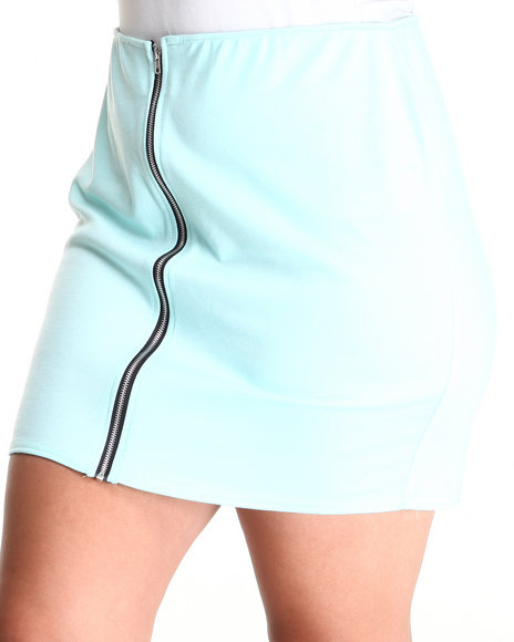 Fashion Lab - Women Light Blue The Beverly Hills Zip Up Skirt (Plus)