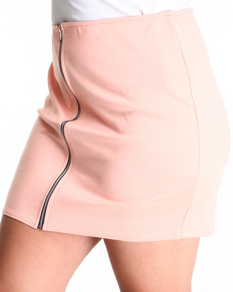 Fashion Lab - Women Pink The Beverly Hills Zip Up Skirt (Plus) - $6.99