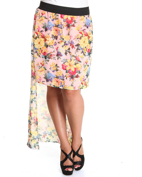 Fashion Lab - Women Multi, Pink The Marla Chiffon Floral Hi-Lo Skirt (Plus)