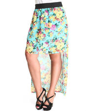 Fashion Lab - The Marla Chiffon Floral Hi-Lo Skirt (plus)