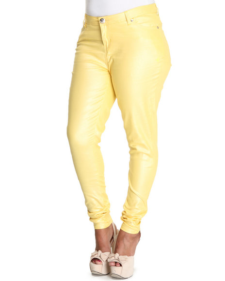 Apple Bottoms Women Yellow Shimmer Twill Pant (Plus Size)