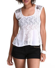 Black & White Womens Shop - Lace Peplum Top