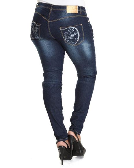 Apple Bottoms Women Dark Wash Apple Script Logo Square Pocket Skinny Jean (Plus Size)