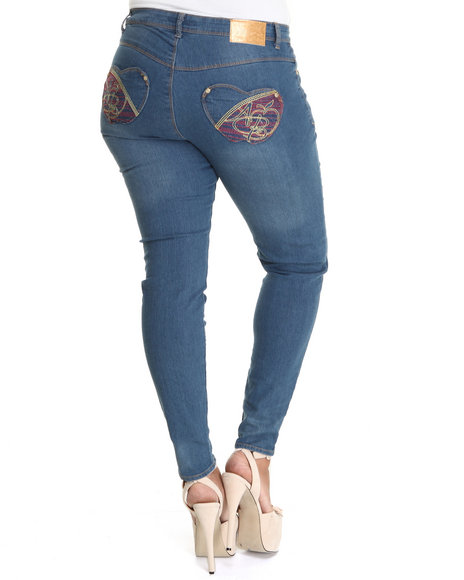 Apple Bottoms Women Medium Wash Red Apple Pocket Skinny Jean (Plus Size)