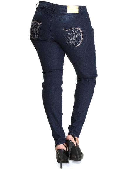 Apple Bottoms Women Dark Wash Split Apple Script Logo Square Pocket Skinny Jean (Plus Size)