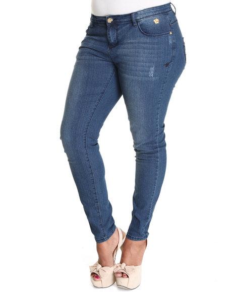 Apple Bottoms Women Blue Raised Leather Pocket Script Logo Skinny Jean (Plus Size)