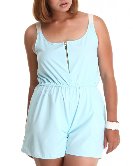 Fashion Lab - Women Light Blue The Conrad Romper W/Contrast Shoulder Straps Zipper (Plus)