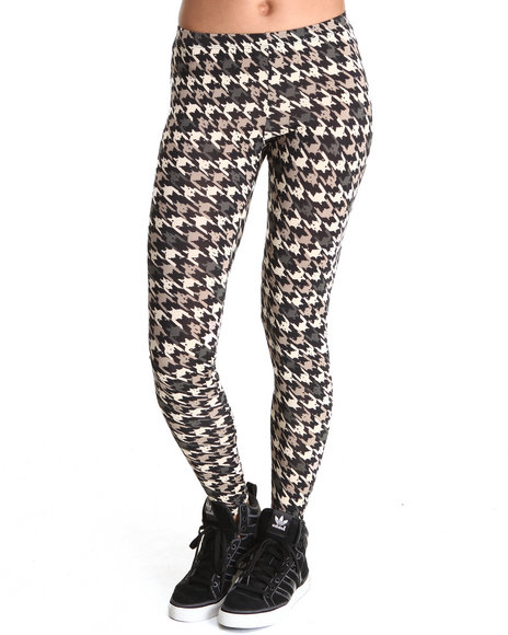 Fashion Lab - Women Black,Cream,Grey Washed Houndstooth Leggings