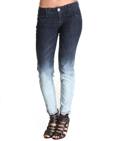 JOLT Indigo Zip Ankle Ombre Skinny Jean