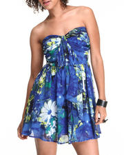 Dresses - Printed Chiffon Ruffle Front Bustier Dress