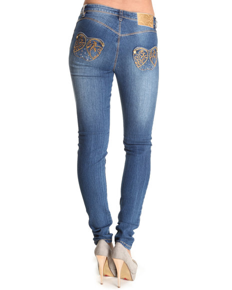 Apple Bottoms Women Medium Wash Gold Embroidery Pocket Skinny Jean