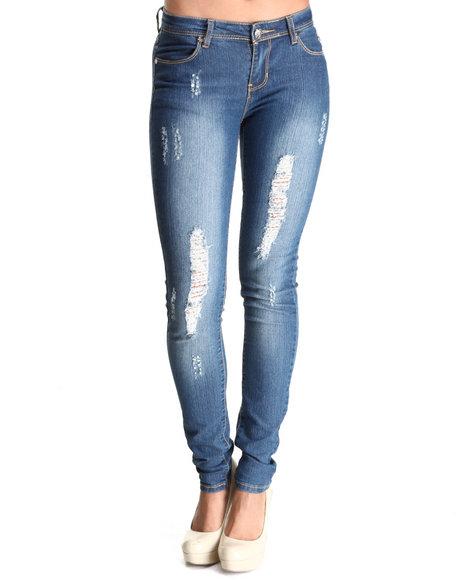 Apple Bottoms Women Medium Wash Embroidered Pocket Distressed Skinny Jean
