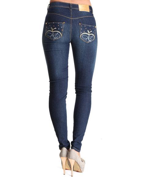 Apple Bottoms Women Dark Wash Bling Apple Pocket Skinny Jean