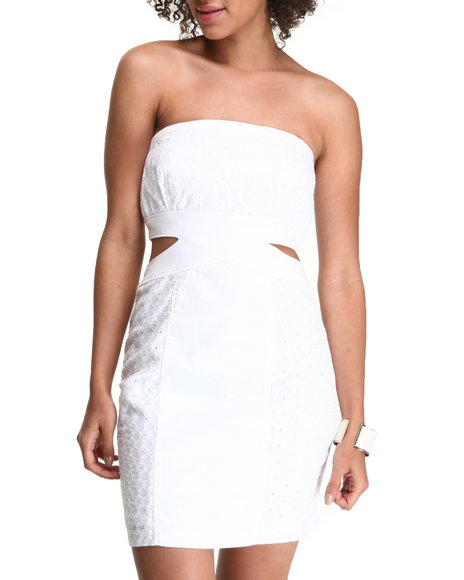 XOXO - White Party Cut Out Eyelet Dress