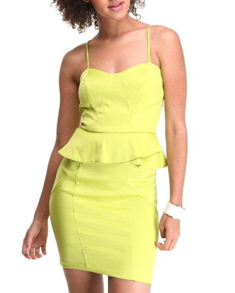 XOXO Lime Green Spaghetti Strap Asymmetrical Peplum Dress