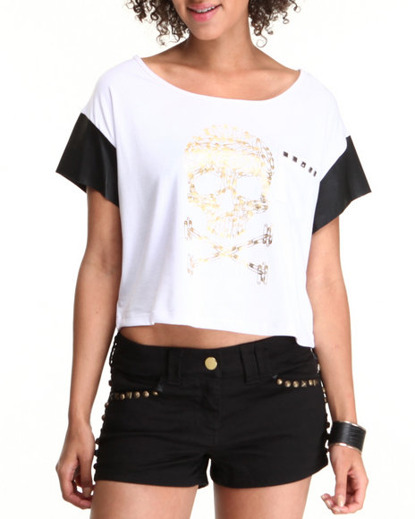 Chord - Women White Pins & Skulls Tee