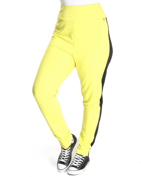 Apple Bottoms Women Yellow High Waisted Side Colorblock Zip Back Pant (Plus Size)