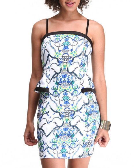 Xoxo - Women White Hotness Printed Peplum Bodycon Dress