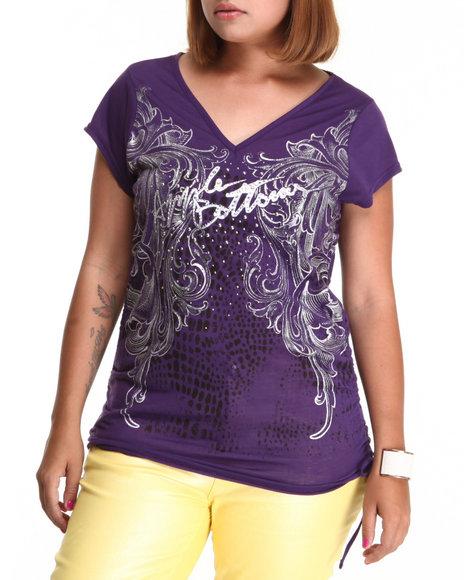 Apple Bottoms Women Dark Purple Side Pull V-Neck Tunic Tee