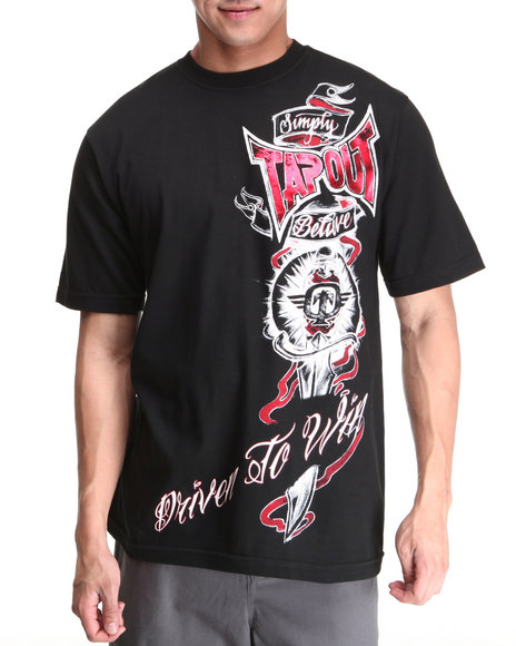 TAPOUT Men Black Driven To Win Tee