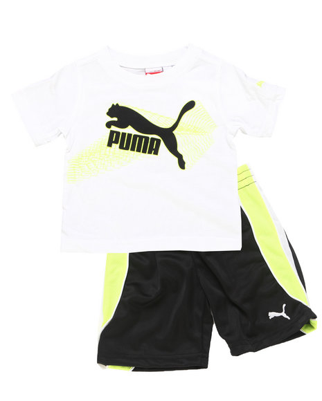 Puma Boys White 2 Pc Outline Set (2T-4T)