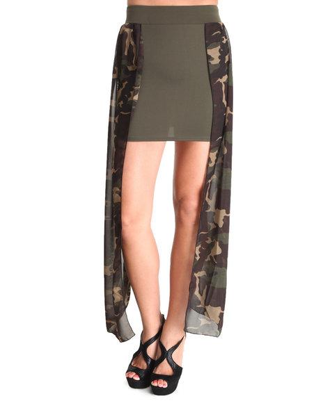 Fashion Lab Camo,Green Amazon Chiffon Panel Skirt