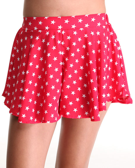 Fashion Lab - Women Red Stars T Swing Short