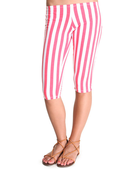Fashion Lab - Women Pink Hatter Railroad Stripe Capri - $4.99
