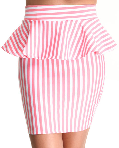 Fashion Lab - Women Pink The Looking Glass Stripe Peplum Skirt - $6.99
