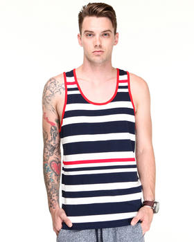Shades of Grey by Micah Cohen - Navy Red Multi Stripe Tank
