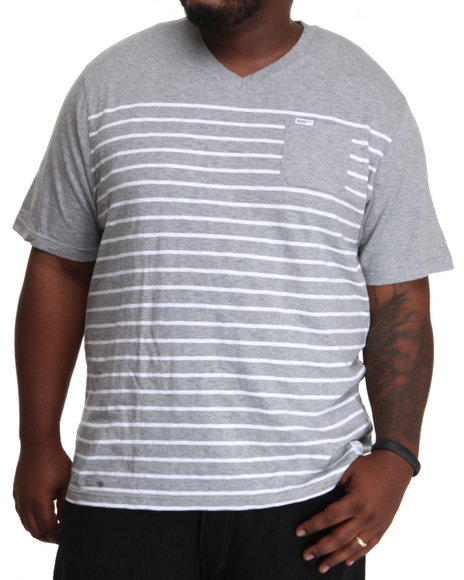 Parish Grey Stripe V-Neck Tee