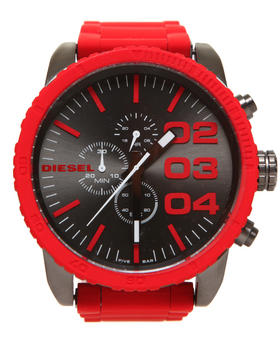 Diesel - Unisex Franchise 51mm Red Face w/ Link Band Watch
