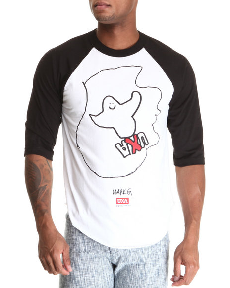 Uxa - Men Black,White Mark Gonzales Raglan Tee