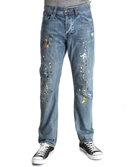 Syn Jeans - Men Light Wash Industrial Straight Slim Denim Jeans