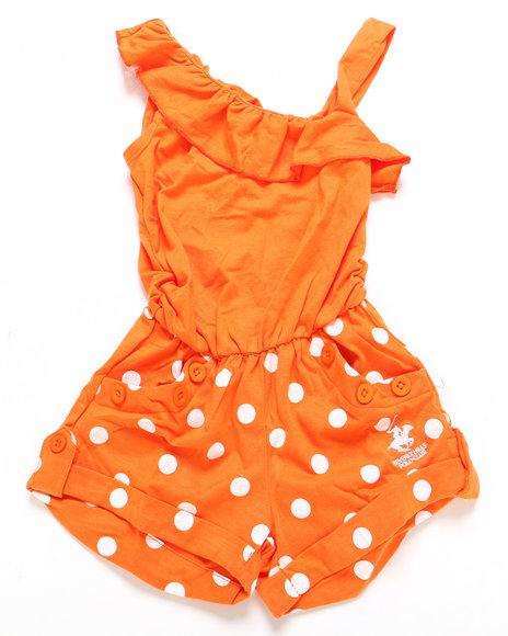 La Galleria Girls One Shoulder Polka Dot Romper 46X Orange 4 S