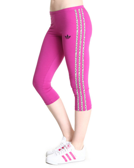 Adidas Animal Print,Dark Pink 3 Stripes Leggings