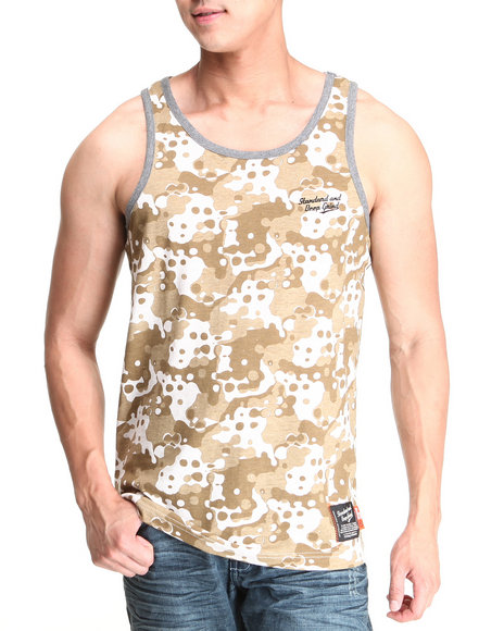 Standard & Grind Khaki Splatter Camo All Over Tank